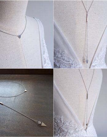Maud - Collier de dos mariage avec perle swarovski
