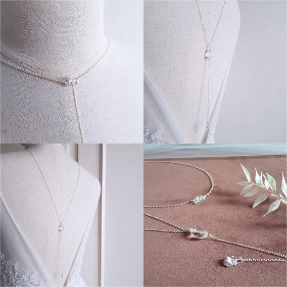 Cristal - Collier de dos mariage avec perles en pierre de quartz naturel