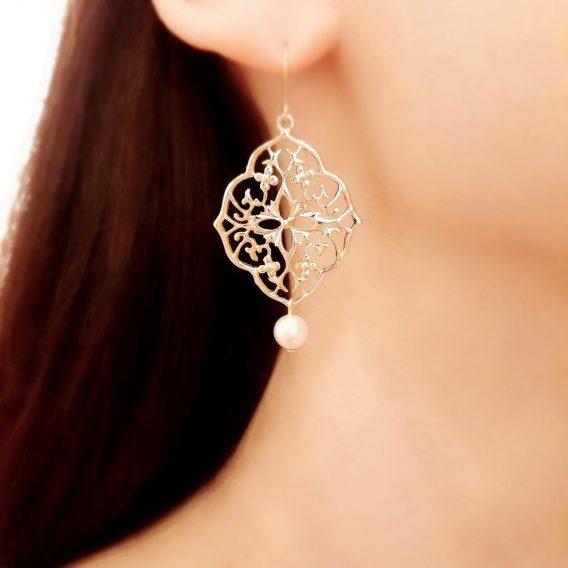 Diane - Boucles d'oreilles mariage plaqué Or 24K avec perles Swarovski
