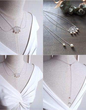 Diane - Collier bijou de dos mariage avec perles sarovski