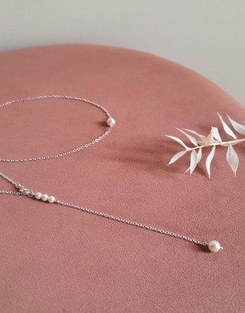 Edith 2 - Collier de dos mariage minimaliste avec perles swarovski