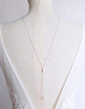 Edith - Collier bijou de dos mariage minimaliste avec perles swarovski