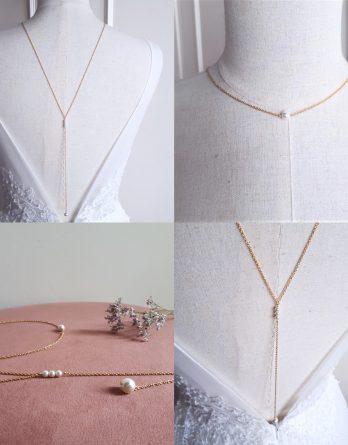 Edith - Collier bijou de dos mariage avec perles swarovski