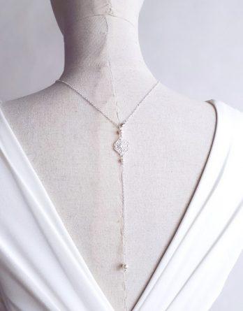 Elena2 - Collier avec bijou de dos mariage avec perles Swarovski