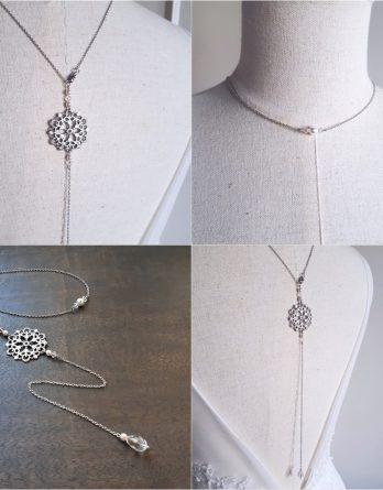 Emma 2 - Collier bijou de dos mariage avec perles swarovski