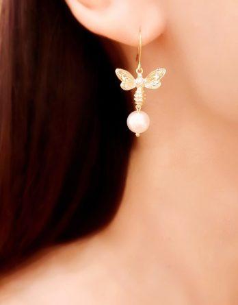 Eugénie - Boucles d'oreilles abeilles plaqué Or 24K avec perles Swarovski
