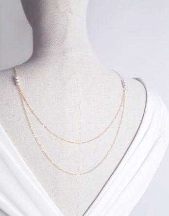 Félicia - Collier de dos mariage 2 rangs avec perles Swarovski