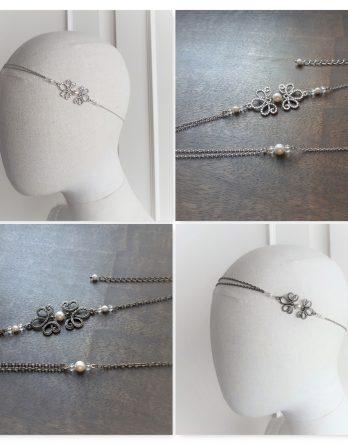 "Headband mariage ""Amandine - 2"" avec perles swarovski"