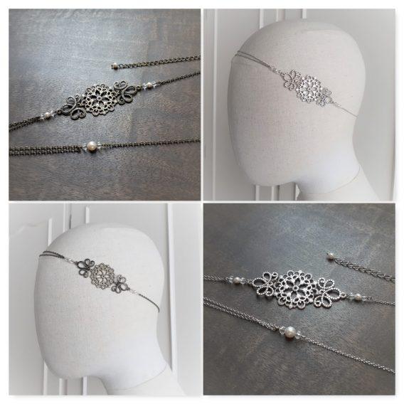 "Headband mariage ""Emma - 3"" avec perles swarovski"