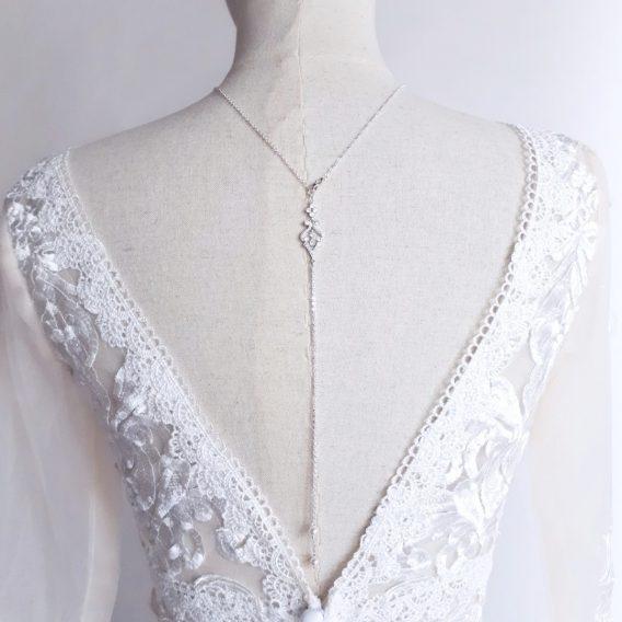 Héloïse - Collier de dos mariage art déco avec zircon et perles Swarovski