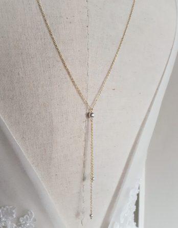Novel - Collier bijou de dos pour mariage avec perles swarovski