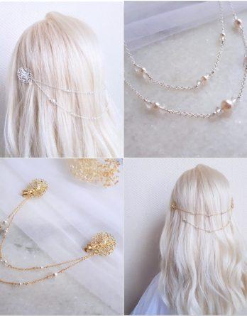 Iris (perles) Bijou de tête mariage