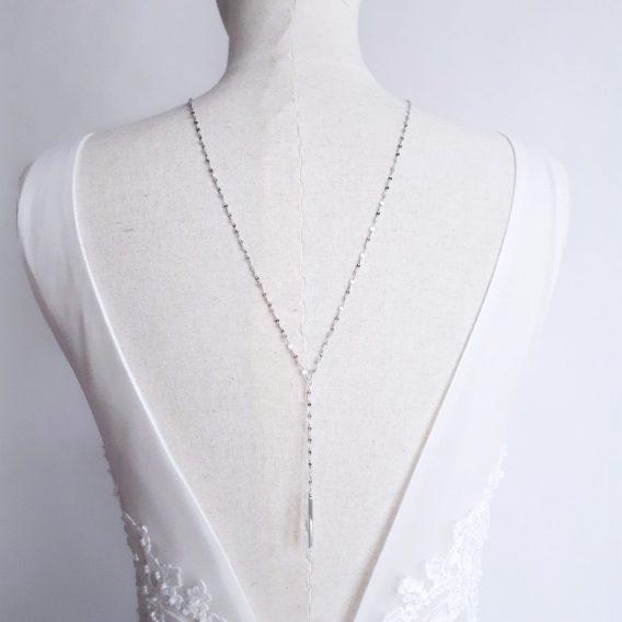 Jenna - Collier de dos ou sautoir minimaliste hypoallergénique avec pendentif tige