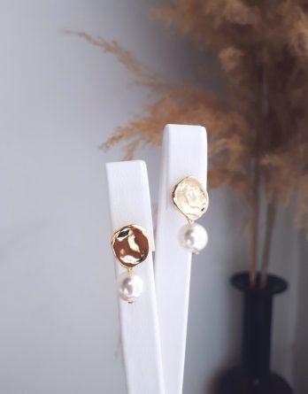 Julie - Boucles d'oreilles mariage minimaliste plaqué Or 24K avec perles Swarovski