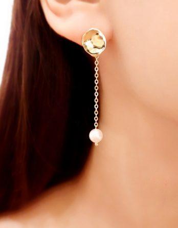 Julie - Boucles d'oreilles mariage minimaliste plaqué Or avec chaîne longue et perles Swarovski