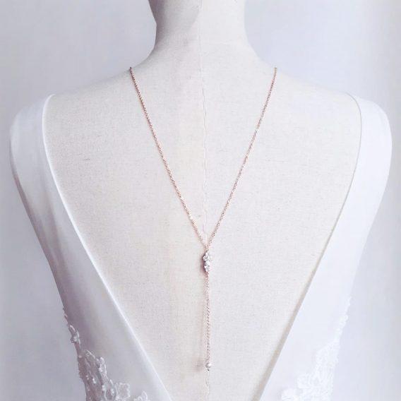 Kelly - Collier de dos mariage pendentif marquise zircon avec perles Swarovski