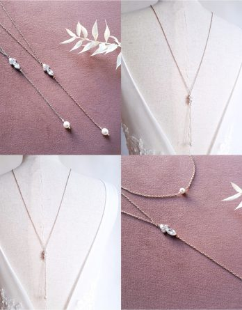 Collier de dos mariage pendentif marquise zircon avec perles swarovski