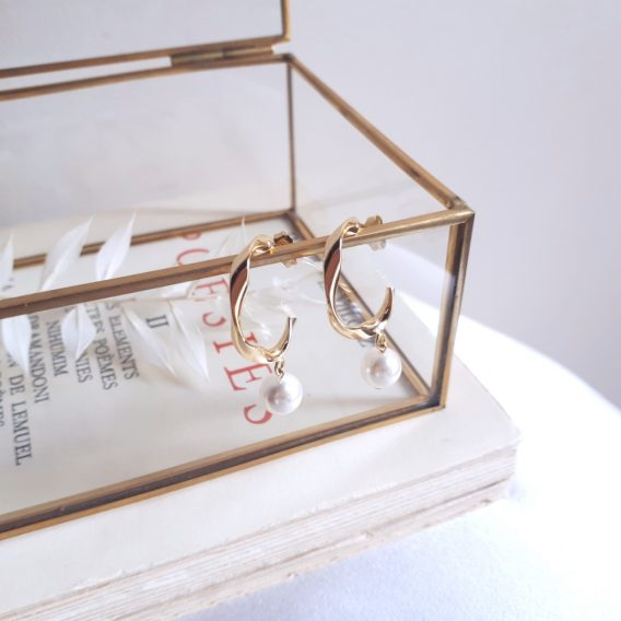 Lana - Boucles d'oreilles minimalistes plaqué Or avec perles swarovski