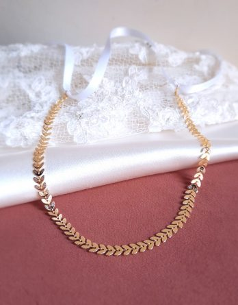Laurie – Headband mariage feuille laurier plaqué Or 14K