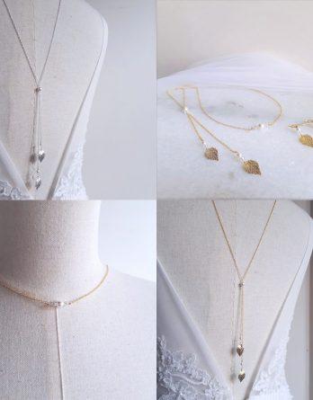 Leia - Parure de mariage, Collier avec bijou de dos et Boucles d'oreilles
