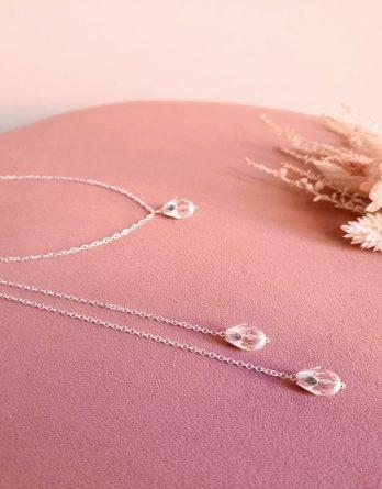 Lilou - Collier de dos mariage, collier Y lariat avec gouttes en cristal