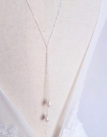 Lily - Collier de dos mariage, collier Y lariat avec perles poires Swarovski