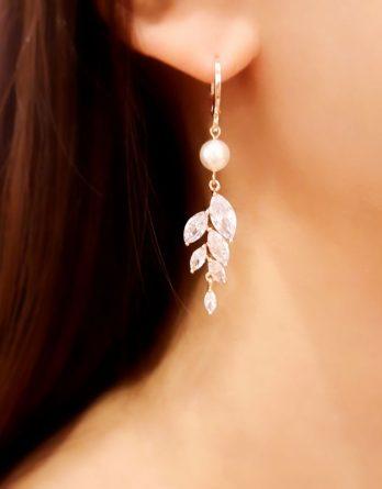 Lina - Boucles d'oreilles mariage feuilles zircon avec perles Swarovski