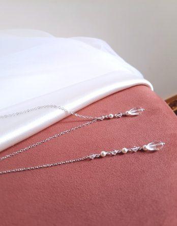 Lise - Collier de dos mariage chic et élégant avec perles Swarovski