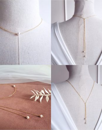 Lison - Collier de dos mariage minimaliste avec perles swarovski