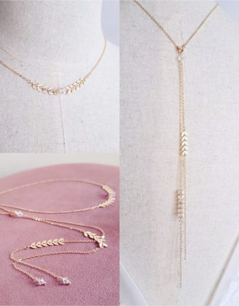 Lola - Collier avec bijou de dos mariage plaqué Or 18K avec perles Swarovski