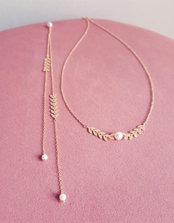 Lola – Collier avec bijou de dos mariage plaqué Or 18K avec perles Swarovski