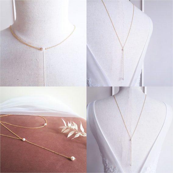 Collier de dos mariage minimaliste avec perles swarovski