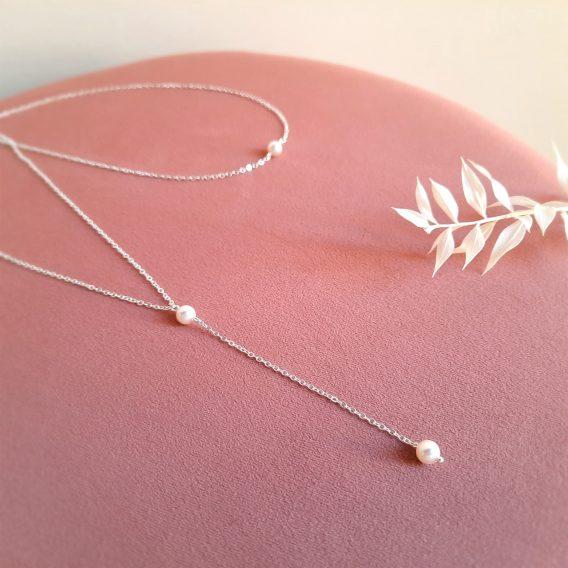 Lou - Collier de dos mariage minimaliste avec perles swarovski