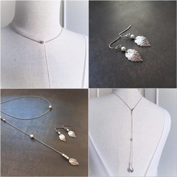 Louane - Parure de mariage, Collier avec bijou de dos et Boucles d'oreilles