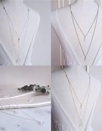 Luna - Collier de dos mariage 2 rangs avec perles et gouttes de cristal