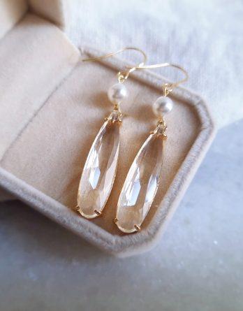 Lydie - Boucles d'oreilles hypoallergénique pendantes gouttes d'eau avec perles Swarovski