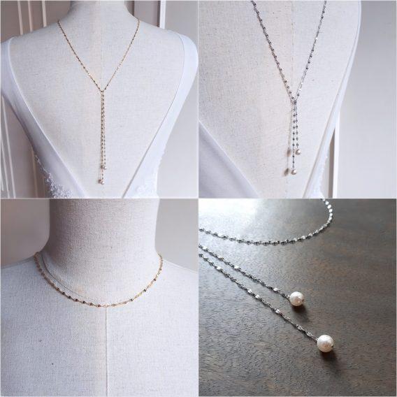 Maelle - Bijou de dos mariage en acier inoxydable avec perles swarovski