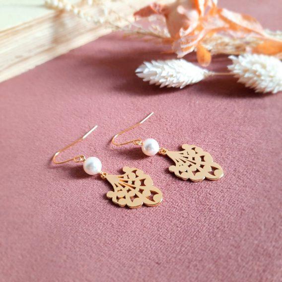 Marion - Boucles d'oreilles mariage plaqué Or 24K avec perles Swarovski