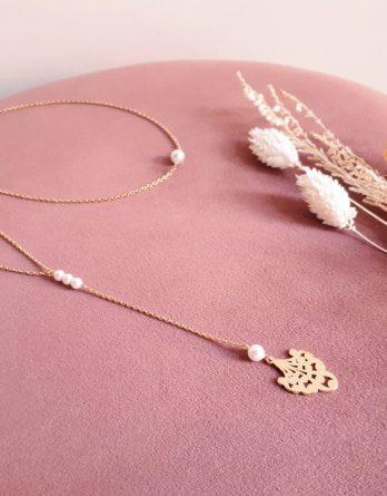 Marion - Collier de dos mariage plaqué Or 24K avec perles Swarovski