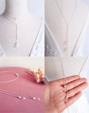 Mina - Collier de dos mariage, collier Y lariat avec perles Swaovski