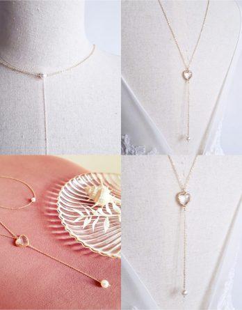 Mon cœur - Collier bijou de dos mariage plaqué Or 18K avec pendentif cœur cristal et perles Swarovski