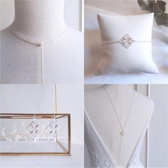 Novel - Parure de mariage simple et champêtre chic avec perles swarovski