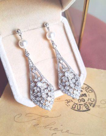 Olympia - Boucles d'oreilles mariage art déco avec zircon et perles Swarovzki