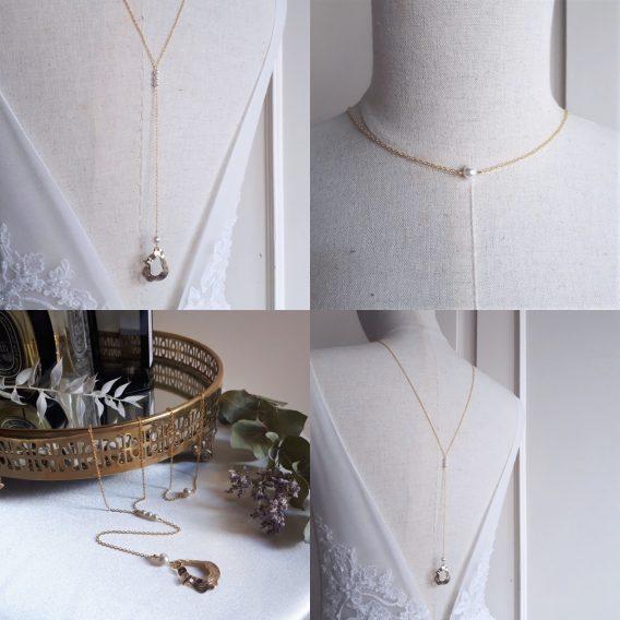 Milena - Collier de dos mariage moderne et minimaliste avec perles swarovski