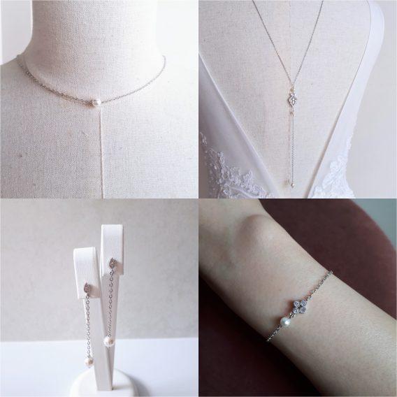 Agathe - Parure de mariage avec perles swarovski et zircons