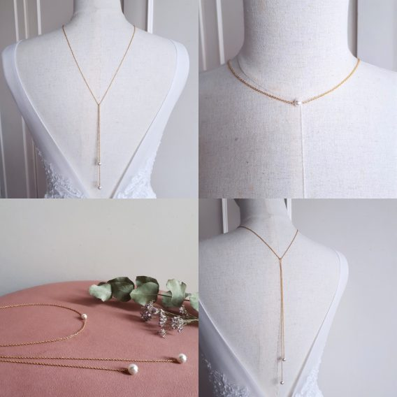 Pearl - Collier bijou de dos mariage avec perles swarovski