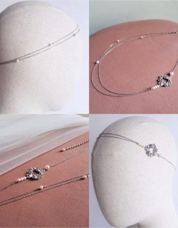 Rosa - Headband mariage cercle fleurs et feuilles avec perles swarovski
