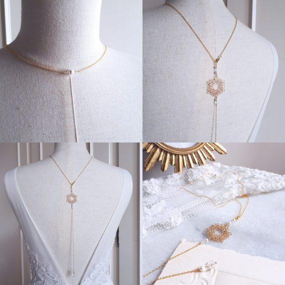 Rosie - Collier avec bijou de dos doré pour mariage avec perles swarovski