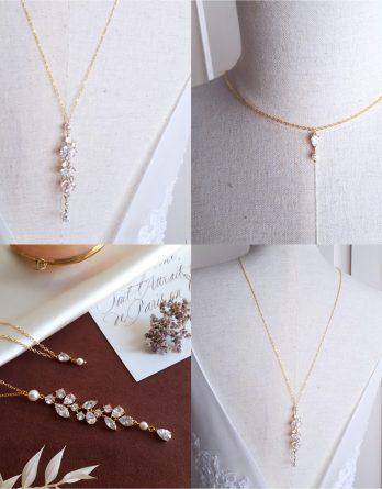 Solena - Collier de dos mariage avec perle swarovski et zirconium