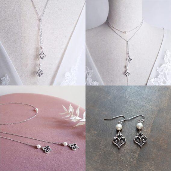 Sophie - Parure de mariage vintage chic avec perles swarovski